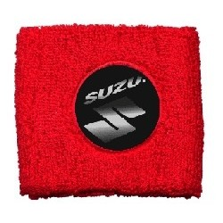 BRAKE OIL TANK PROTECTION CUFF WITH SUZUKI EMBLEM, RED COLOR