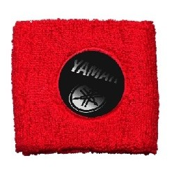 BRAKE OIL TANK PROTECTION CUFF WITH YAMAHA EMBLEM, RED COLOR