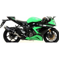 ARROW RACE-TECH ALUMINUM DARK EXHAUST PIPE WITH CARBON BASE FOR KAWASAKI ZX-6R 636 2013/2017, APPROVED