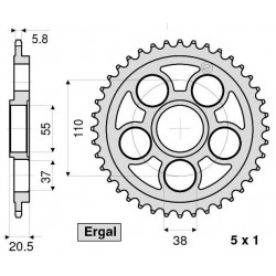 CROWN IN ERGAL FOR CHAIN 520 FOR DUCATS 848/EVO 2008/2013, 916, 996, 998