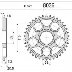 525 ORIGINAL CHAIN STEEL CROWN FOR DUCATS MONSTER S2R 1000 2006/2008, MONSTER 1100/EVO 2009/2013