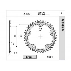 STEEL REAR SPROCKET FOR ORIGINAL CHAIN 525 FOR MV AGUSTA DRAGSTER 800 2014/2018, DRAGSTER 800 RR 2015/2017