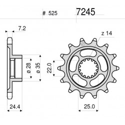 STEEL FRONT SPROCKET FOR CHAIN 525 FOR MV AGUSTA TURISMO VELOCE 800 2014/2020, TURISMO VELOCE 800 LUSSO 2015/2020