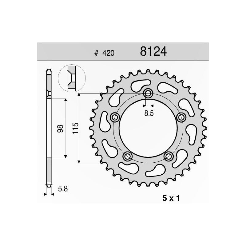 CORONA IN ACCIAIO PER CATENA 420 PER KTM SX 65 2004/2015