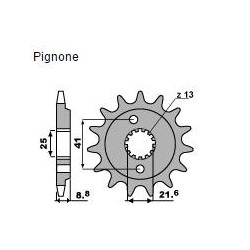 STEEL FRONT SPROCKET FOR CHAIN 520 FOR HONDA XR 600 R 2000/2001