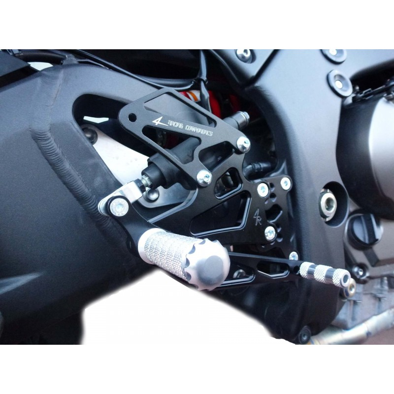 PEDANE ARRETRATE REGOLABILI 4 RACING PER KAWASAKI ZX-10R 2011/2015 CON ABS (cambio standard)