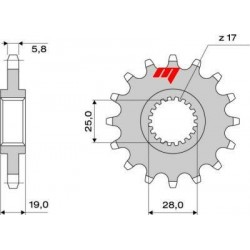STEEL FRONT SPROCKET FOR CHAIN 520 FOR APRILIA SL 1000 FALCO