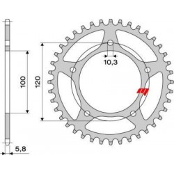 ALUMINIUM REAR SPROCKET FOR 520 CHAIN FOR APRILIA TUONO 1000, TUONO V4