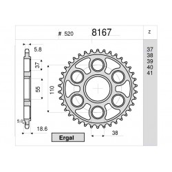 ALUMINIUM REAR SPROCKET FOR 520 CHAIN FOR DUCATI 1199 PANIGALE 2012/2014