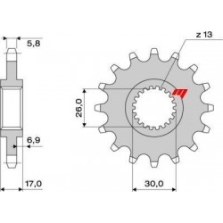 STEEL FRONT SPROCKET FOR CHAIN 520 FOR HONDA CBR 954 2002/2003, CBR 929 RR 2000/2001, HORNET 900 2002/2007
