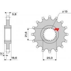 STEEL FRONT SPROCKET FOR ORIGINAL CHAIN 520 FOR KAWASAKI Z 800 2013/2016