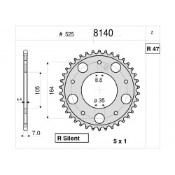 STEEL REAR SPROCKET FOR CHAIN 525 FOR GILERA GP 800