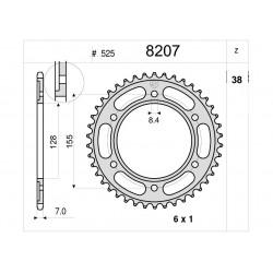 STEEL REAR SPROCKET FOR CHAIN 525 FOR KTM 1290 SUPER DUKE R 2014/201, 1290 SUPER DUKE GT 2016/2020