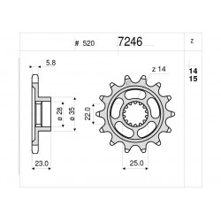 STEEL FRONT SPROCKET FOR CHAIN 520 FOR MV AGUSTA TURISMO VELOCE 800 2015/2020, TURISMO VELOCE 800 LUSSO 2015/2020