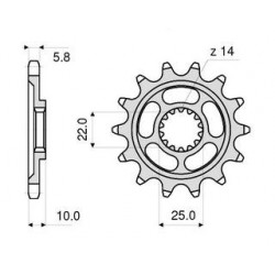 STEEL FRONT SPROCKET FOR CHAIN 520 FOR MV AGUSTA F4 1000 2004/2010, F4 1000 S/R/RR 2010/2013