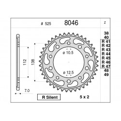 STEEL REAR SPROCKET FOR ORIGINAL CHAIN 525 FOR YAMAHA R1 2015/2020