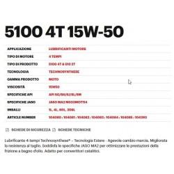 OLIO LUBRIFICANTE MOTUL 5100 15W50 PER MOTORI A 4 TEMPI