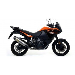 ARROW MAXI RACE-TECH ALUMINUM DARK EXHAUST PIPE WITH CARBON BASE FOR KTM 1090 ADVENTURE 2017/2019, APPROVED