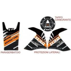 ADESIVI PARASERBATOIO 3D PROTEZIONI LATERALI, SERBATOIO, TAPPO PER KTM ADVENTURE 1190