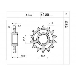 STEEL PIN FOR CHAIN 520 FOR BMW F 800 GS ADVENTURE 2013/2018