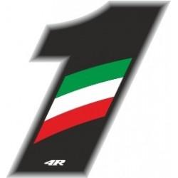 ADESIVO RACING FLAG NUMERO 1 ALTEZZA 10 CM