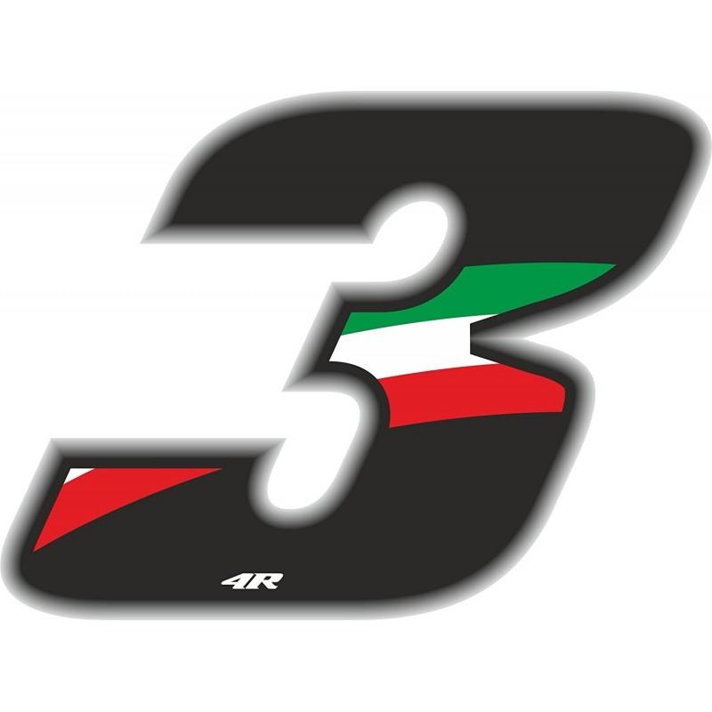 ADESIVO RACING FLAG NUMERO 3 ALTEZZA 10 CM