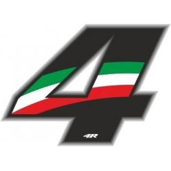 ADESIVO RACING FLAG NUMERO 4 ALTEZZA 10 CM