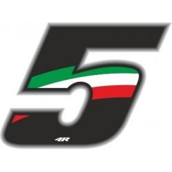 ADESIVO RACING FLAG NUMERO 5 ALTEZZA 10 CM
