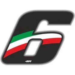 ADESIVO RACING FLAG NUMERO 6 ALTEZZA 10 CM