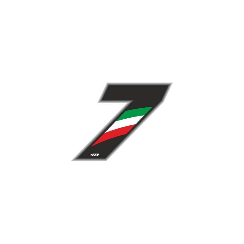 ADESIVO RACING FLAG NUMERO 7 ALTEZZA 10 CM