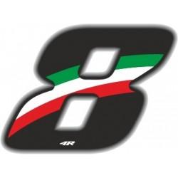 ADESIVO RACING FLAG NUMERO 8 ALTEZZA 10 CM