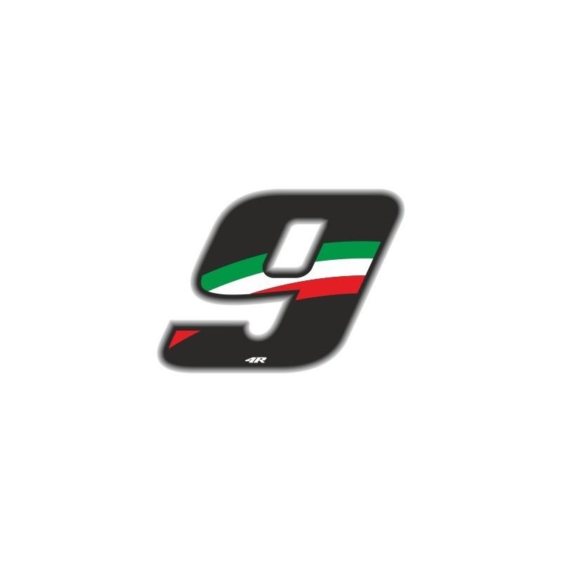 ADESIVO RACING FLAG NUMERO 9 ALTEZZA 10 CM