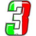 ADESIVO RACING ITA NUMERO 3 ALTEZZA 10 CM
