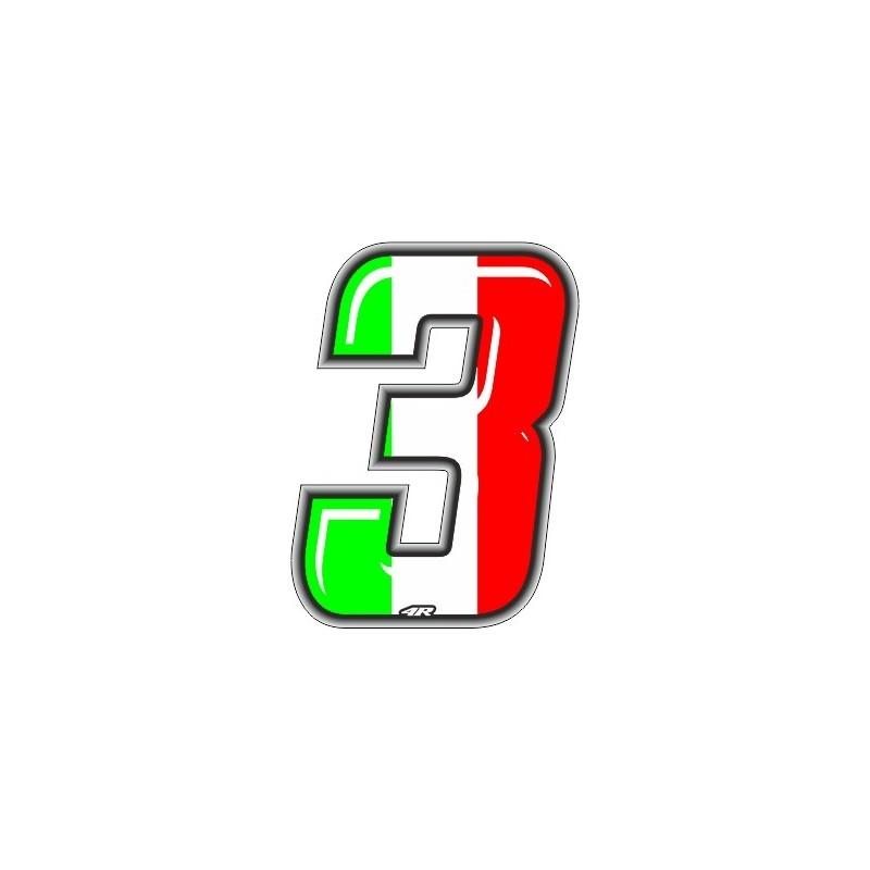 ADHESIVE RACING ITA NUMBER 3 HEIGHT 10 CM