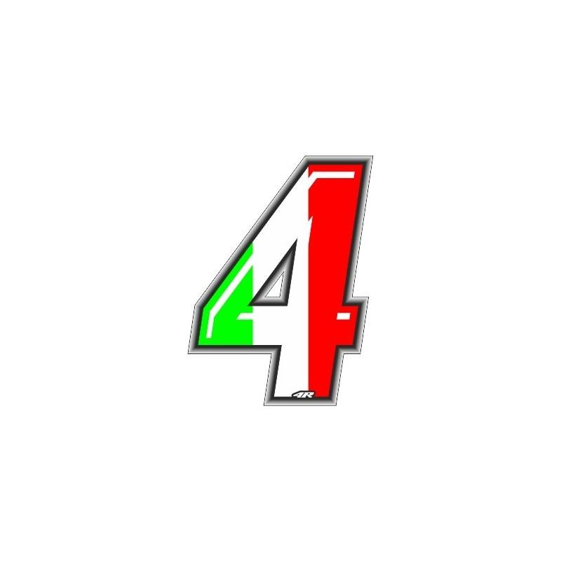 ADESIVO RACING ITA NUMERO 4 ALTEZZA 10 CM