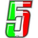 ADESIVO RACING ITA NUMERO 5 ALTEZZA 10 CM