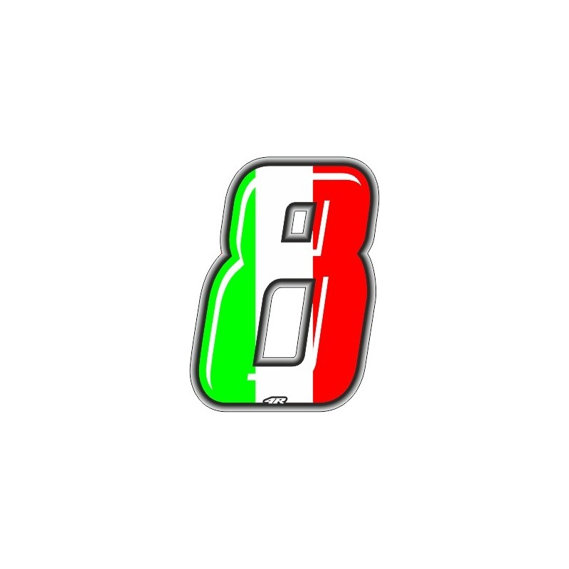 ADESIVO RACING ITA NUMERO 8 ALTEZZA 10 CM