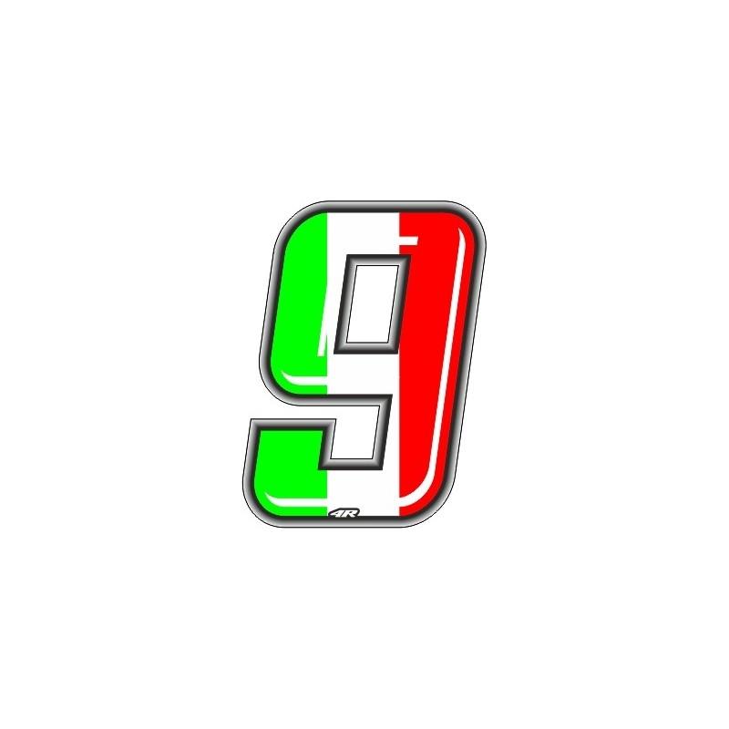 ADESIVO RACING ITA NUMERO 9 ALTEZZA 10 CM
