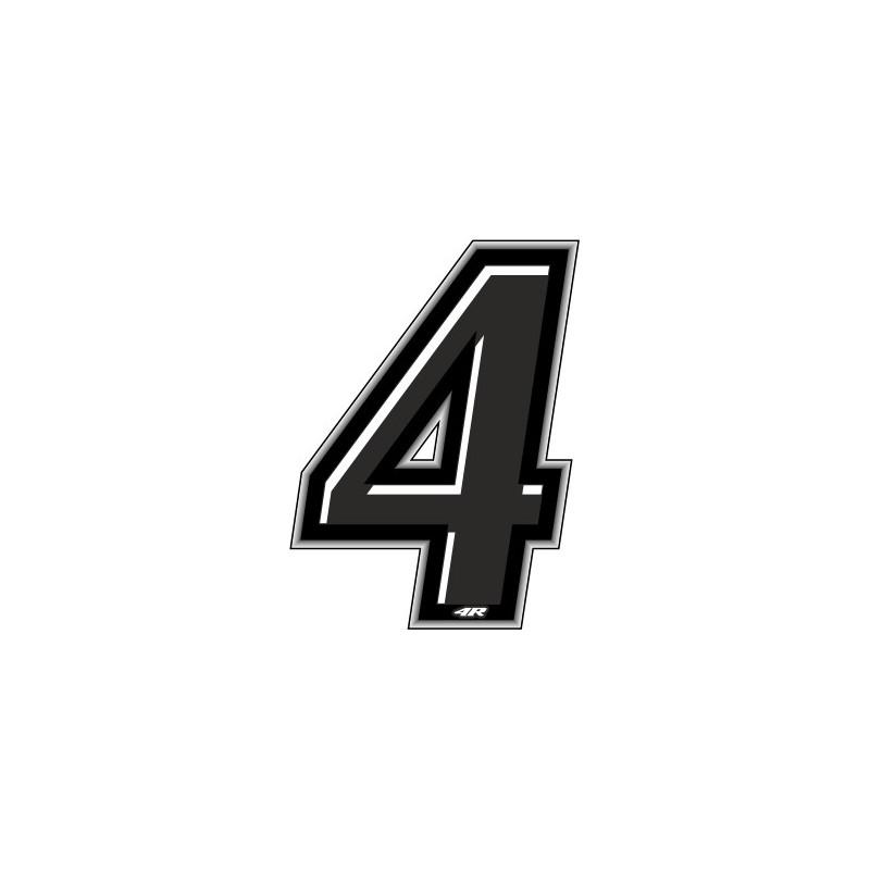 ADESIVO RACING NERO NUMERO 4 ALTEZZA 10 CM