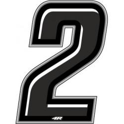ADESIVO RACING NERO NUMERO 2 ALTEZZA 10 CM