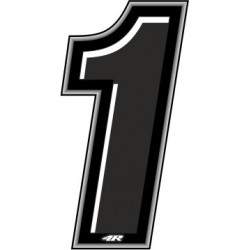 ADESIVO RACING NERO NUMERO 1 ALTEZZA 10 CM