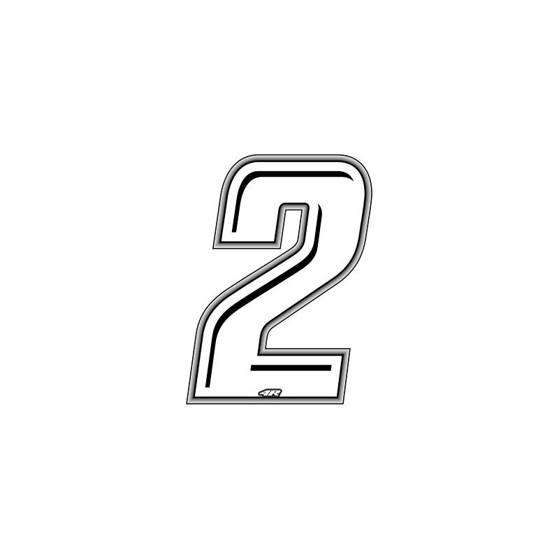 ADESIVO RACING BIANCO NUMERO 2 ALTEZZA 10 CM