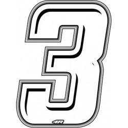 ADESIVO RACING BIANCO NUMERO 3 ALTEZZA 10 CM
