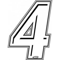ADESIVO RACING BIANCO NUMERO 4 ALTEZZA 10 CM