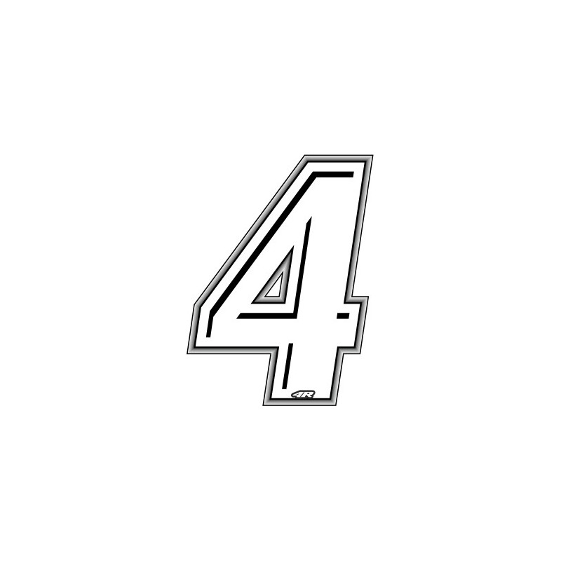 ADHESIVE RACING WHITE NUMBER 4 HEIGHT 10 CM