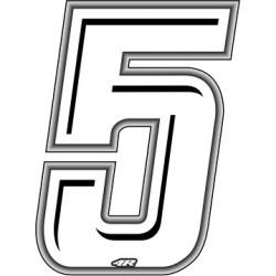 ADESIVO RACING BIANCO NUMERO 5 ALTEZZA 10 CM