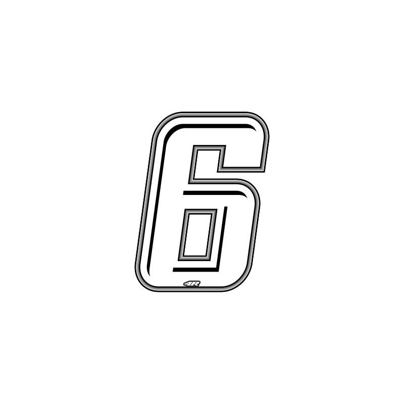 ADESIVO RACING BIANCO NUMERO 6 ALTEZZA 10 CM