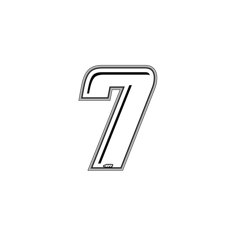 ADHESIVE RACING WHITE NUMBER 7 HEIGHT 10 CM