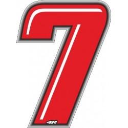 ADESIVO RACING ROSSO NUMERO 7 ALTEZZA 10 CM