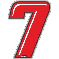ADHESIVE RACING RED NUMBER 7 HEIGHT 10 CM